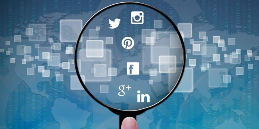 social media in magnifying glass