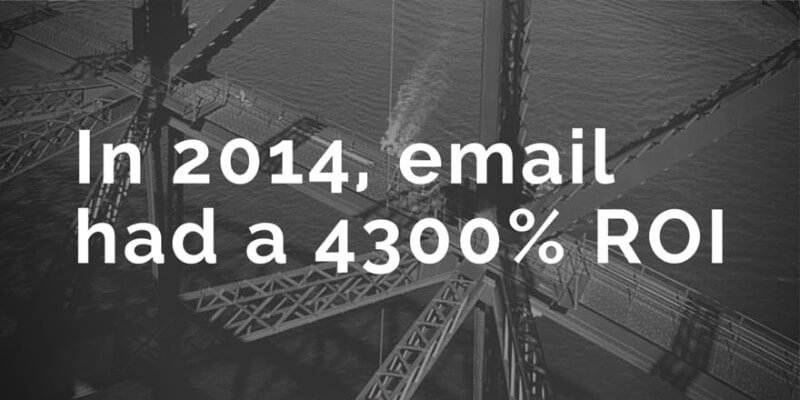 in 2014, email had a 4300% return on investment