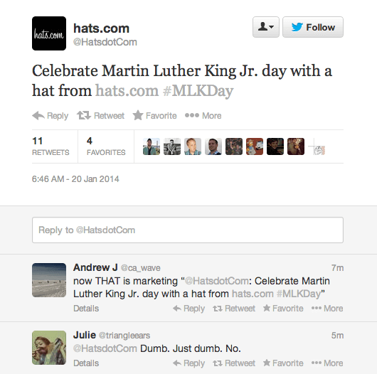 inappropriate social media posts - hat mlk day