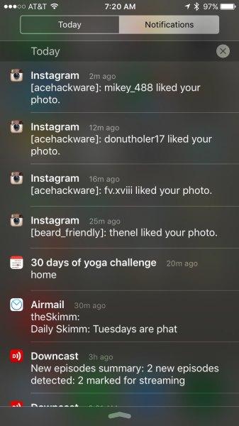 instagram multiple accounts in notification center