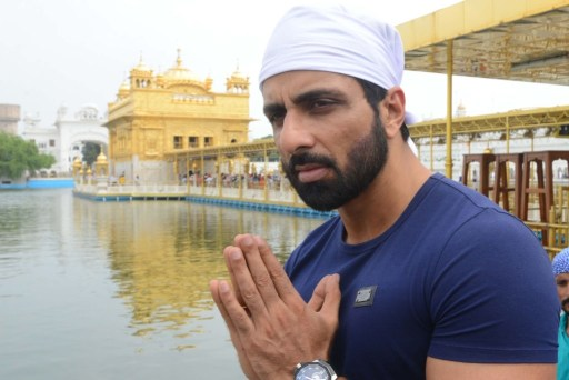 Indian Bollywood actor Sonu Sood visits the Golden Temple in Amritsar.