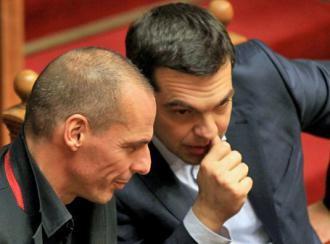 Prime Minister Alexis Tsipras (right) and Finance Minister Yanis Varoufakis