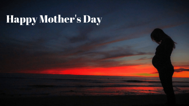 happy mother's day sea shore shadow image