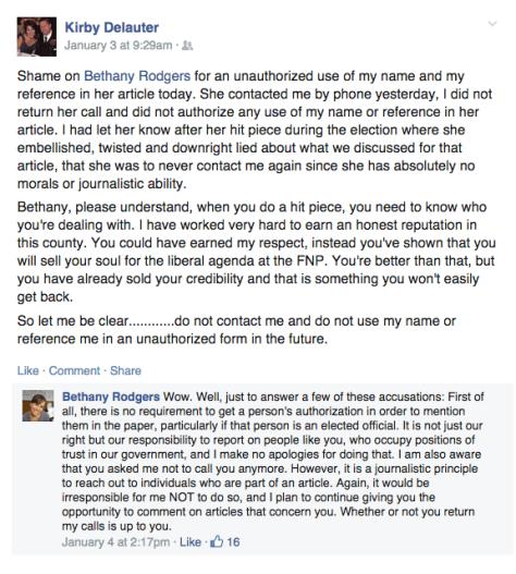 Kirby Delauter Facebook Threat