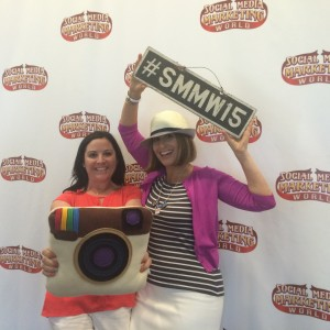 Sue B & I at #SMMW15 (Notice the props?)