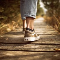 Image of person walking on path.