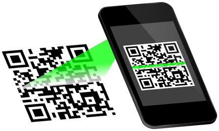 QR-Codes wird mit grünem Licht gescannt