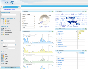 A peek at the new truPulse dashboard from Visible Technologies. Click for larger view.