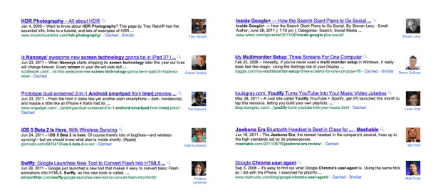 Authorship Markup in Search Results