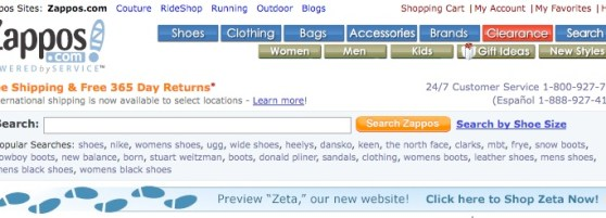 Zappos Online Shoes