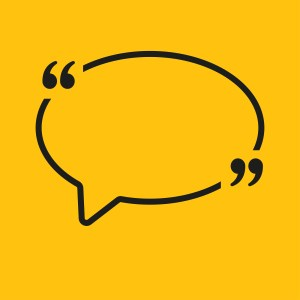 Vector Speech Bubble Quote Blank Template. Empty Quote Template. Business Quote Card Template, Information, Text. Quote Form. Bracket. Sending Direct Speech. Yellow Background. Oval.