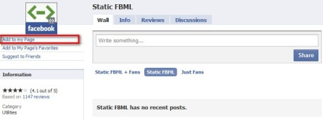 Add To My Page On Static FBML