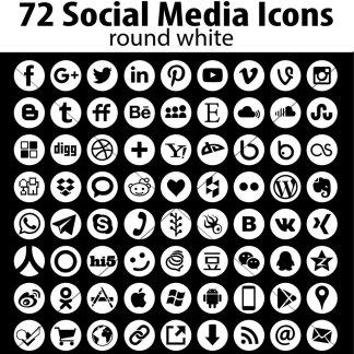 White round social media icons