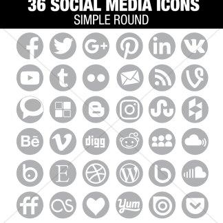 36 Light Grey Social Media Icons