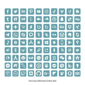 Aqua square rounded social media icons