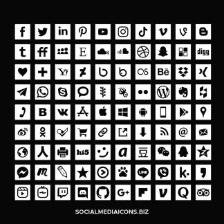 White Square Social Media Icons