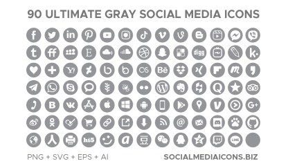 Ultimate Grey Social Media Icons