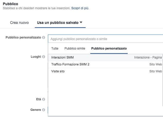 selezionare pubblico personalizzato in pannello facebook ads