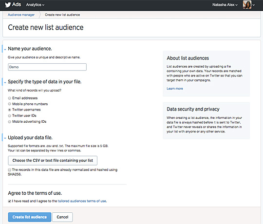 Twitter Audience Manager