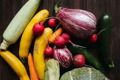 fresh colorful vegetables on table