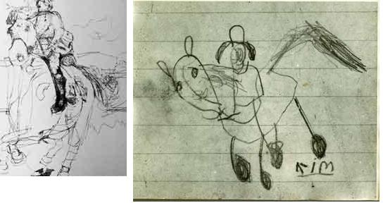five year olds drawings. girl with autism on the left and a standard girl on the right.