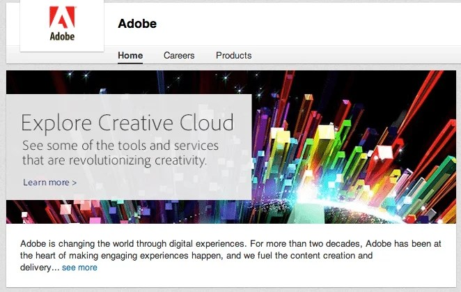 LinkedIn page of Adobe