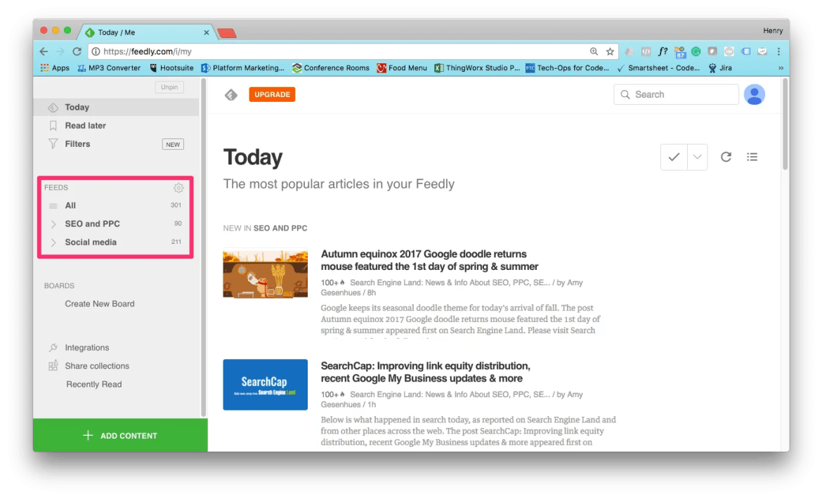 Feedly Interface