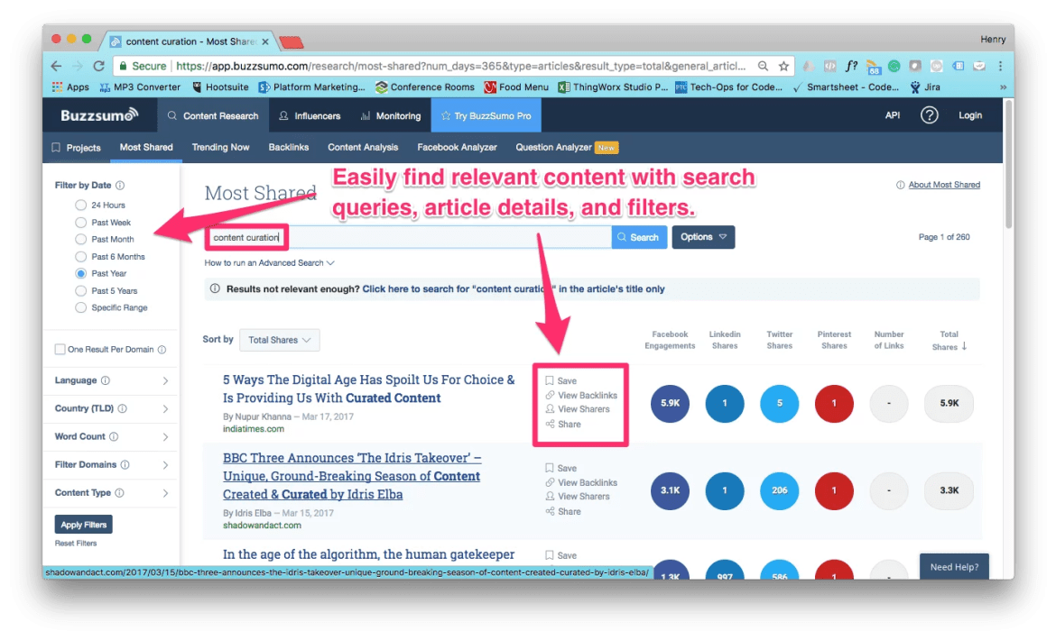 BuzzSumo Search Interface