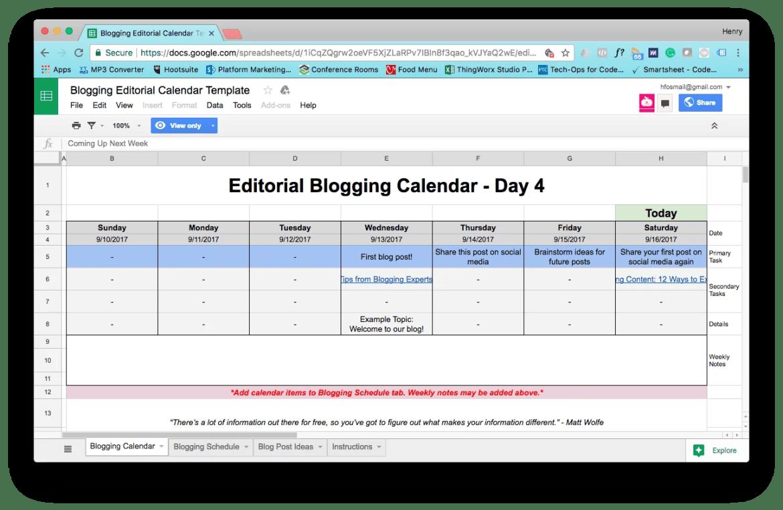 Content calendar example template