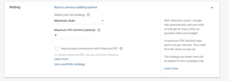 Bidding Setup Google Adwords