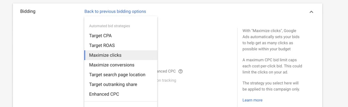 Bidding Options Google Adwords