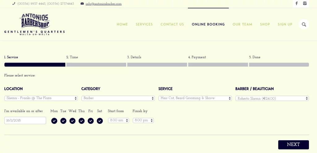 Making an appointment with WooCommerce bookings