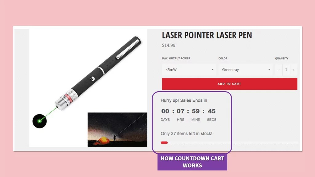 Countdown timer and stock counter