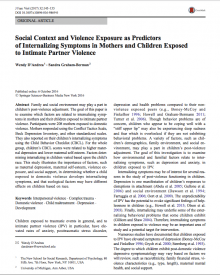 "Journal of Family Violence (2016) — Wendy D'Andrea, ""Social Context and Violence Exposure as Predictors of Internalizing Symptoms in Mothers and Children Exposed to Intimate Partner Violence"""