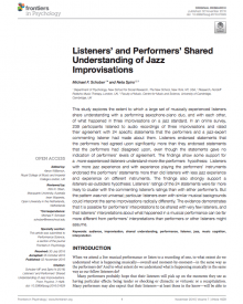 "Frontiers In Psychology (2016) — Michael Schober, ""Listeners' and Performers' Shared Understanding of Jazz Improvisations"""