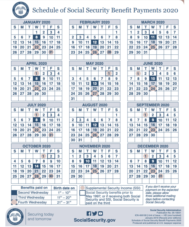 """""""2020 Social Security Payment calendar"""""""