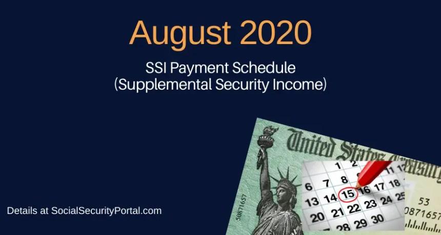 """""""August 2020 SSI Payment Calendar"""""""