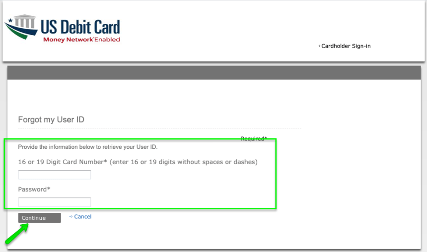 """EIP Card account forgot User ID - 1"""
