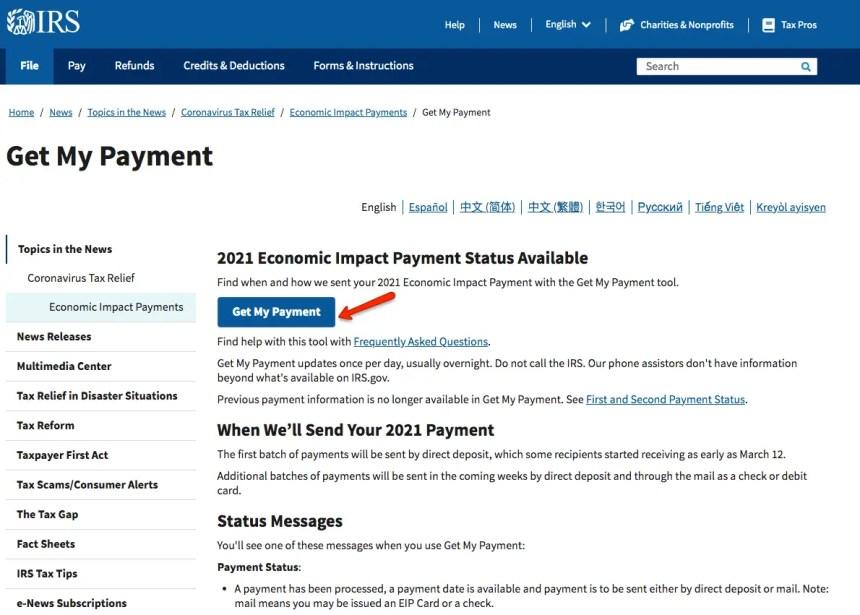 """IRS Stimulus Check Portal Status"""