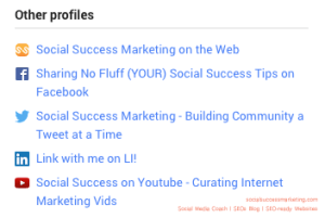 Social Media Profile: Optimized profiles for search