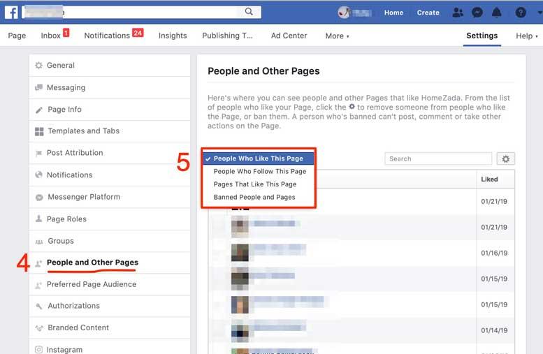 Facebook company likes options