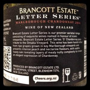 2013 Brancott Estate Letter Series 'O' Omaka Vineyard Chardonnay, Marlborough, New Zealand wine bottle back label