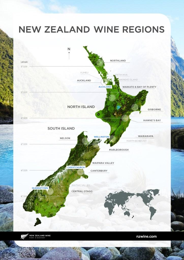 NZW-New Zealand Wine Map-of-nz-regions-north-south-islands-small