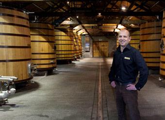 Winemaker Chris Scott in cuve cellar Church Road Winery