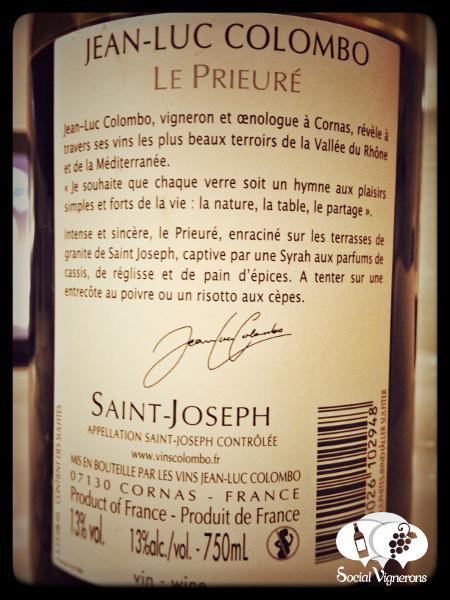 2013 Jean-Luc Colombo Saint-Joseph Le Prieure Wine Bottle Back Label Social Vignerons small