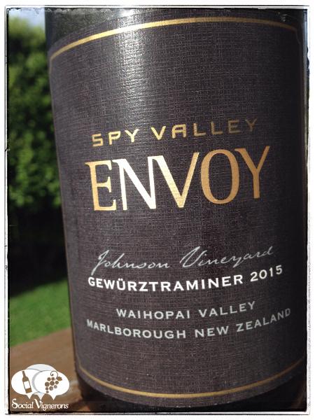 2015 Spy Valley Envoy Gewurztraminer, Marlborough glass bottle wine front label Social Vignerons small