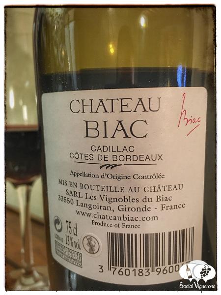 2009 Chateau Biac Cadillac Cotes de Bordeaux Red wine bottle back label Social Vignerons small