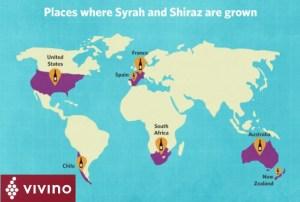 Where are Syra and Shiraz grown around the world France Australia, USA, South Africa and more Social Vignerons Vivino