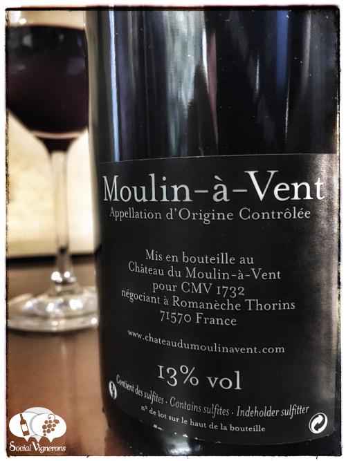 2012 Chateau du Moulin a Vent Beaujolais back label wine bottle glass Social Vignerons small