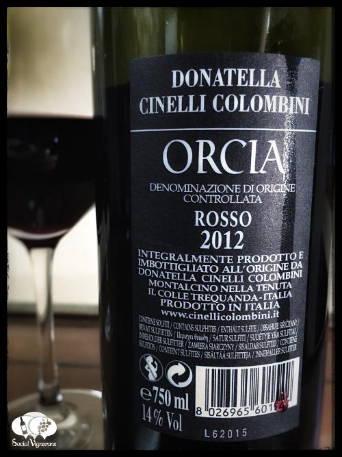 2012 Donatella Cinelli Colombini Orcia wine bottle back label glass social vignerons small